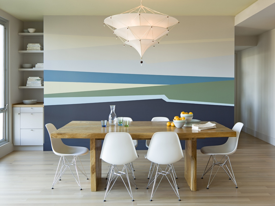 Dining room with JHID mural