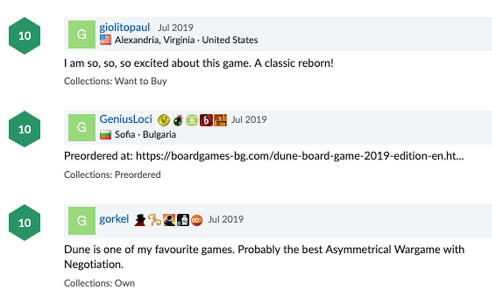 The comments are already racking up on the Boardgame Geek NEW Dune page!