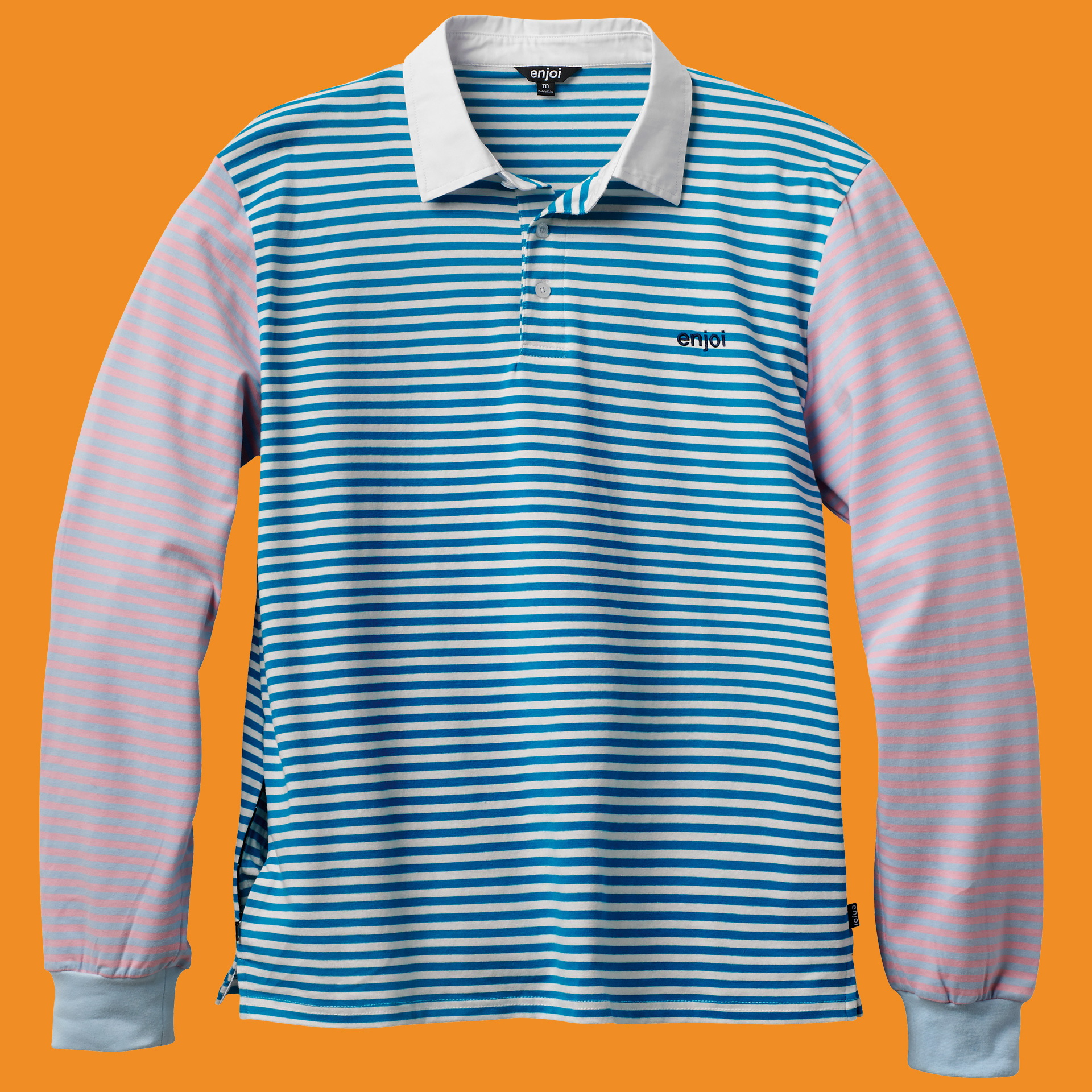 confused stripe. long sleeve polo
