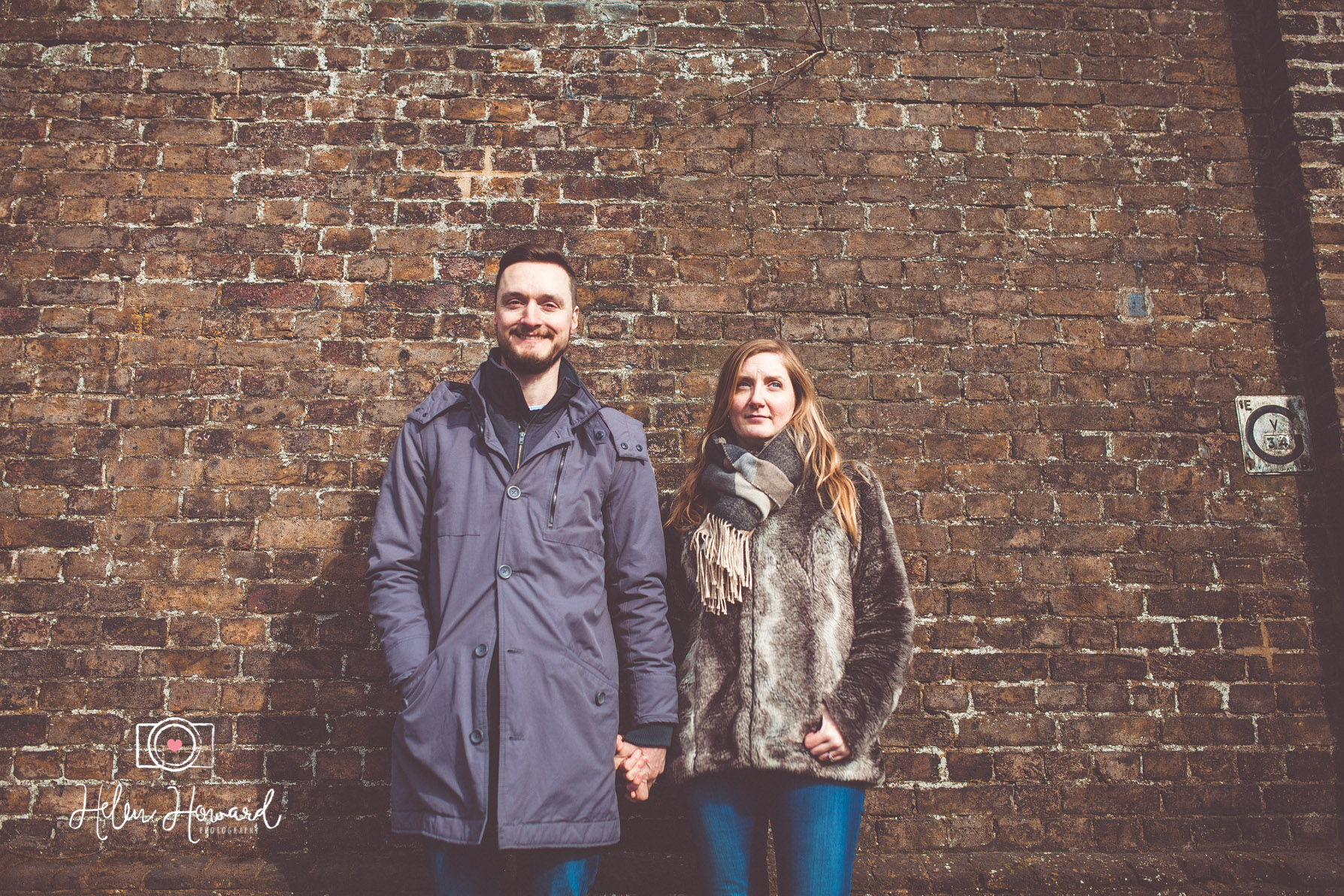 Couple having an engagement portrait by Berkhamsted Train Station