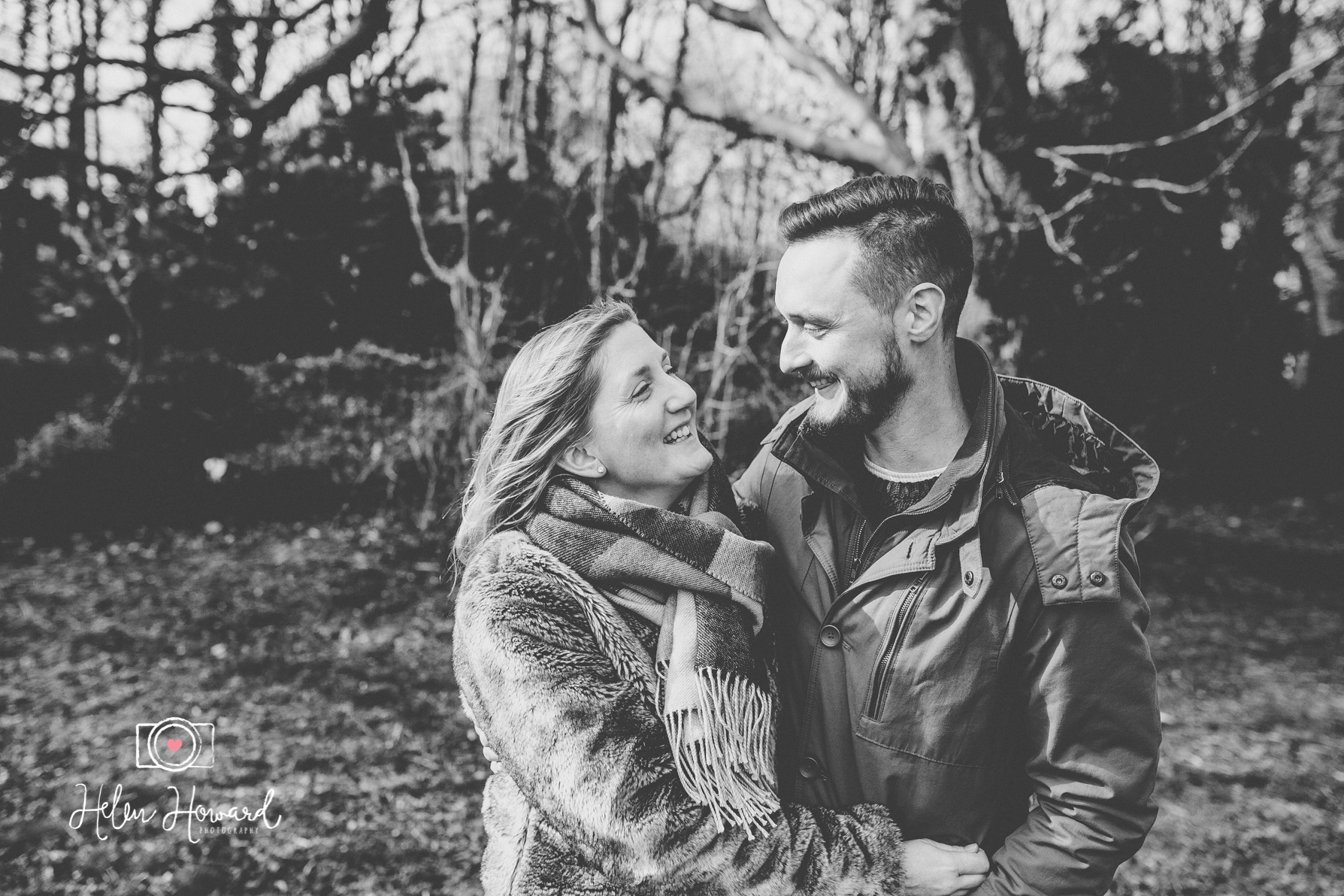 Black and White Engagement shoot image of a young couple in Berkhamsted