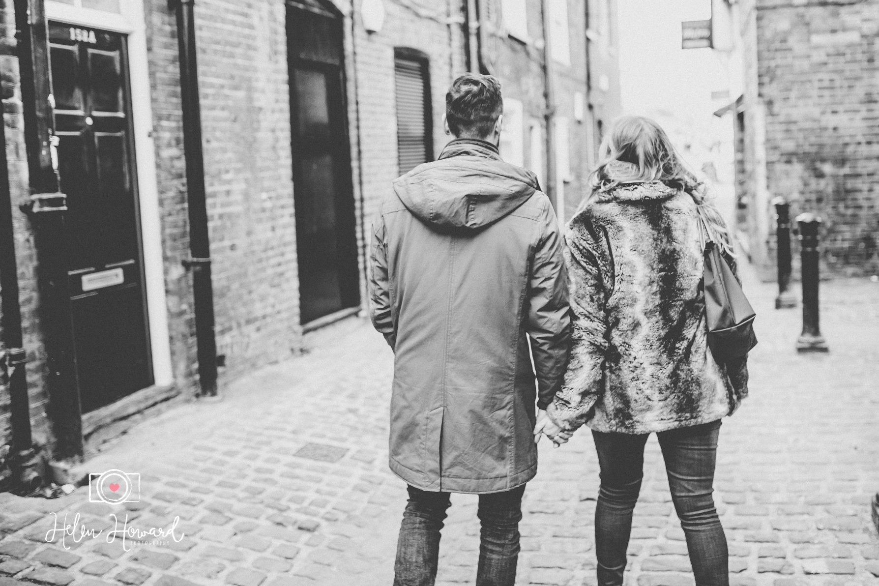 Couples engagement shoot in Berkhamsted  walking through the town centre