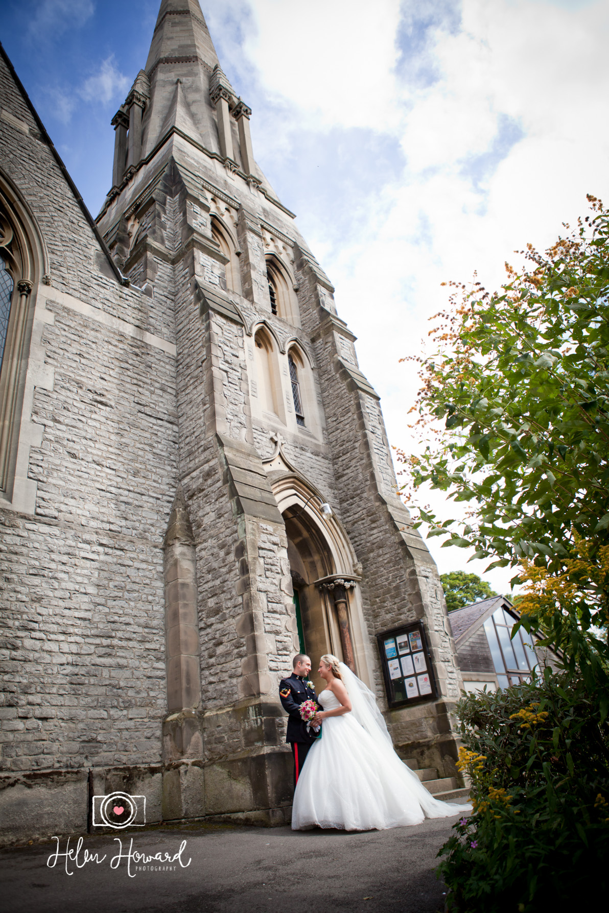 Bride and Groom outside the church wedding photography in Aldridge