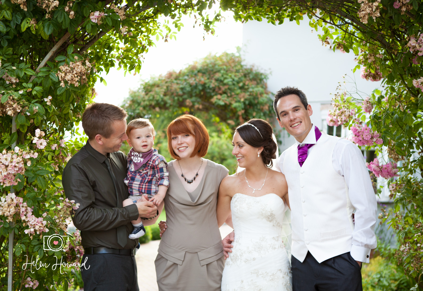Wedding guests with the bride and Groom at The Old School House in Weeford