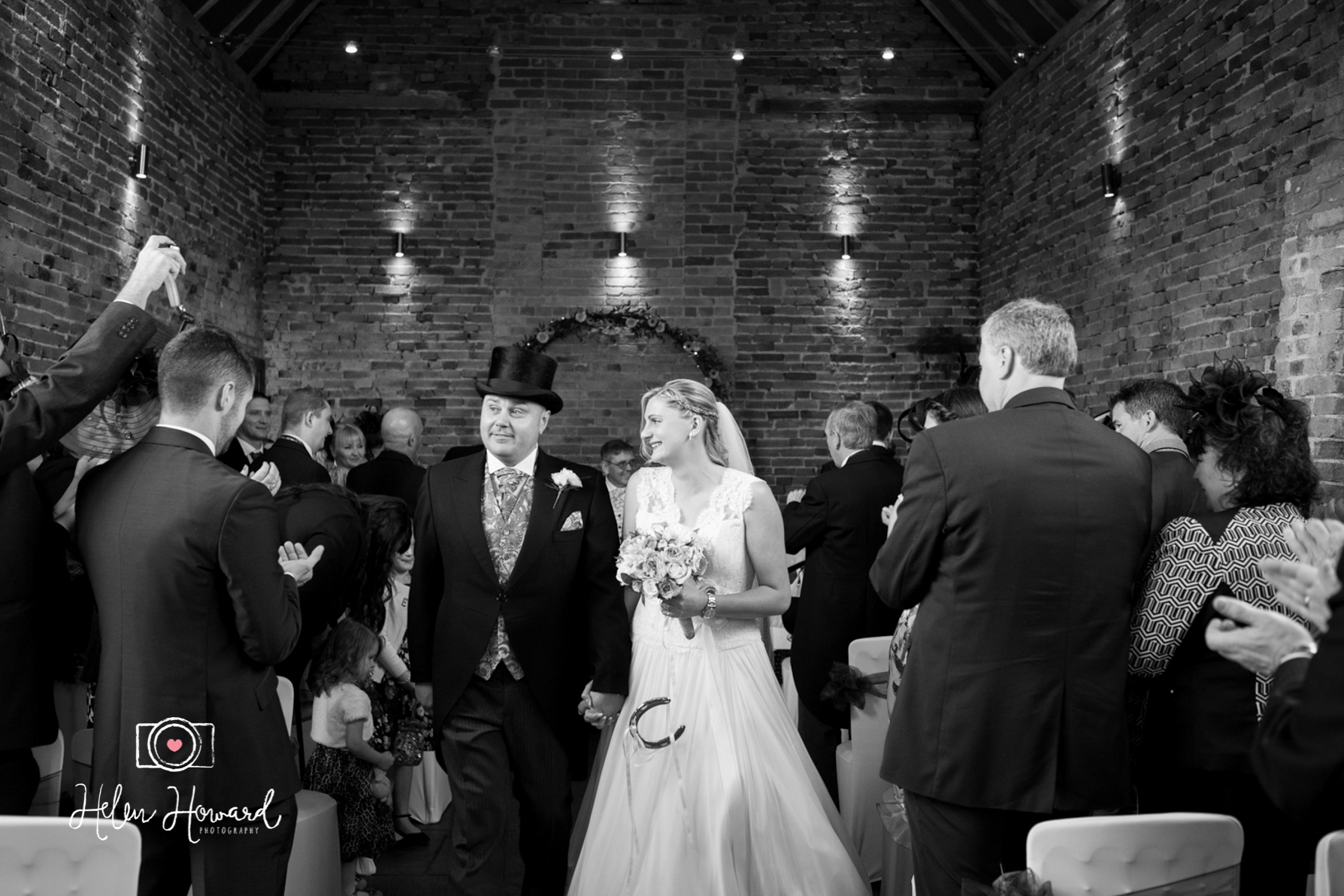 Black and White image of a bride and groom getting married at Packington Moor Near Lichfield