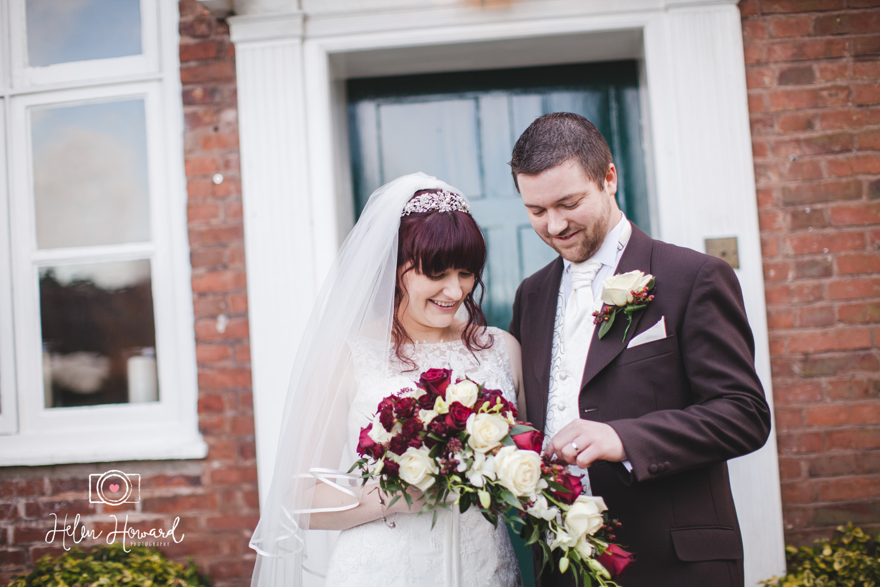 A bride and Groom at The Moat House in Acton Trussell
