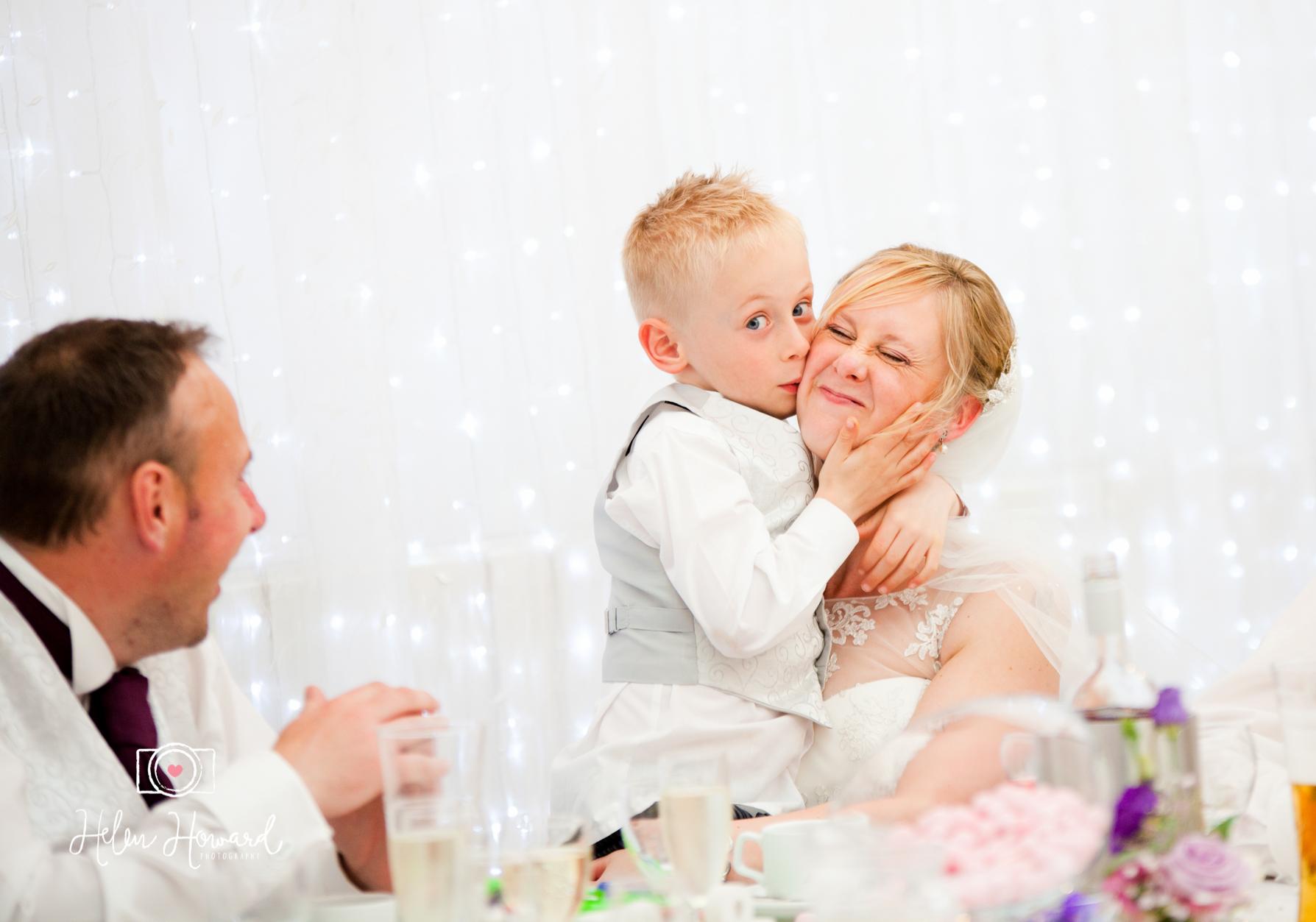 Hawkesyard Estate weddings in Rugeley bride and her son