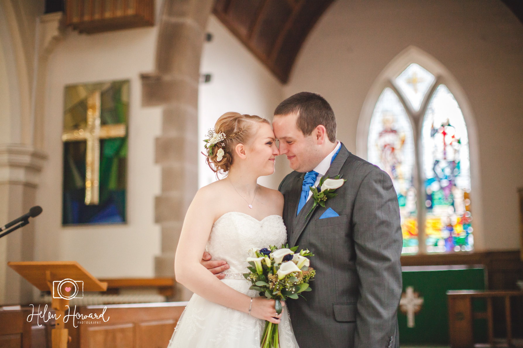 Christchurch in burntwood wedding photography of a bride and Groom
