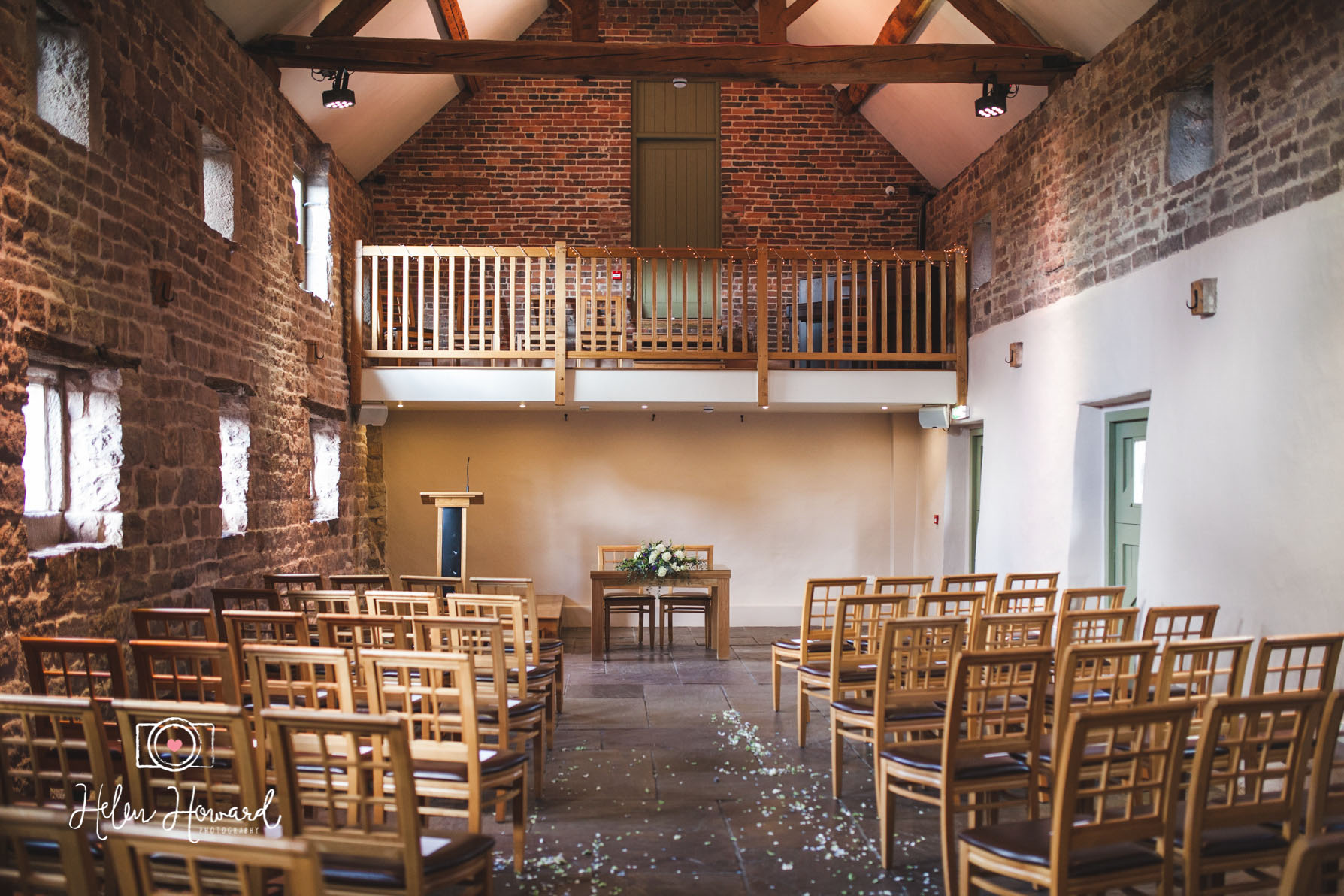 Inside the West Barn set up for a ceremony At The Ashes Endon
