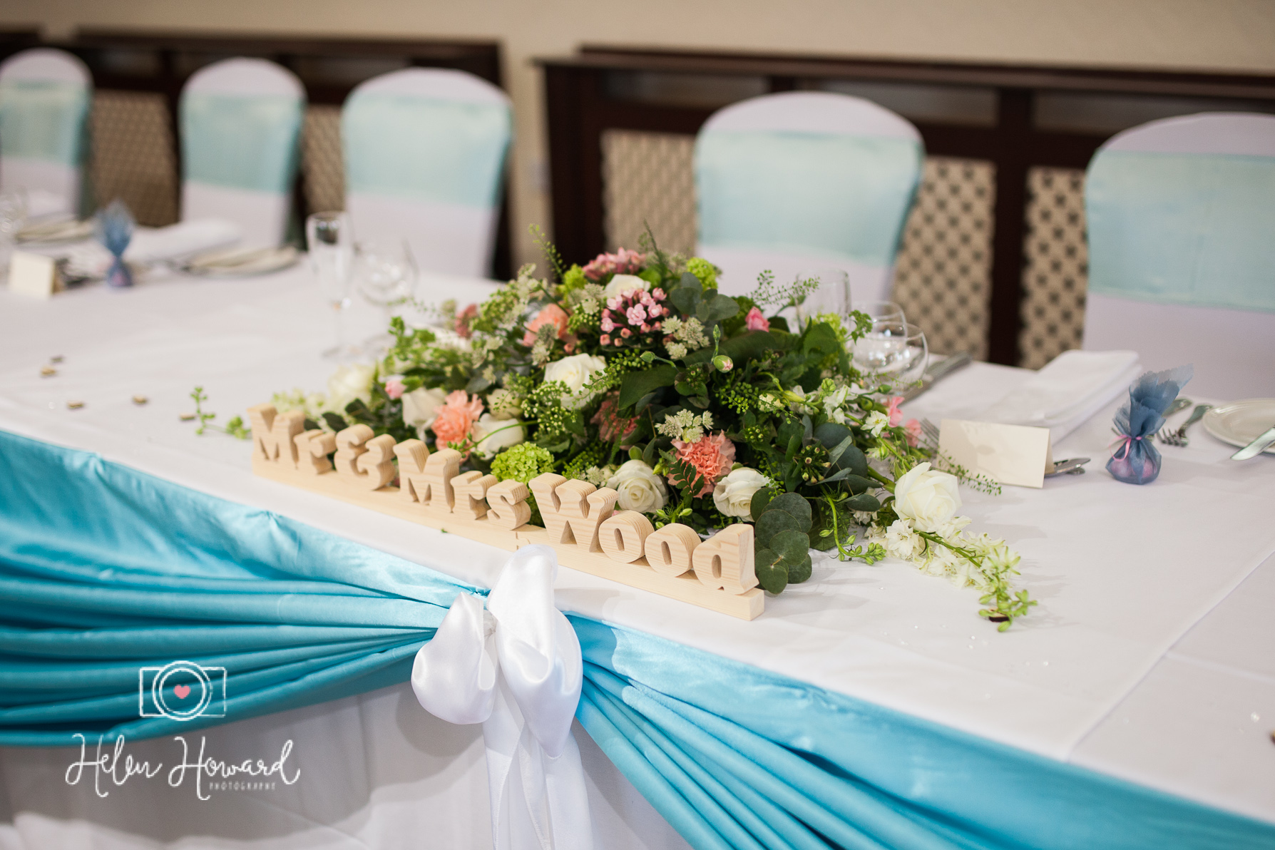 Mr and Mrs Wood Table Centre at Oak Farm Hotel Wedding Photography-1.jpg