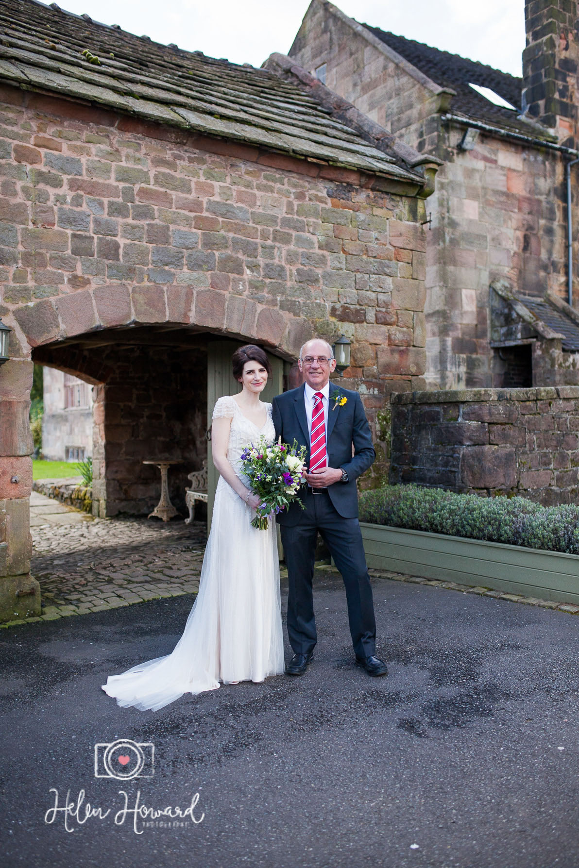 Bride and her dad outside the Ashes Venue
