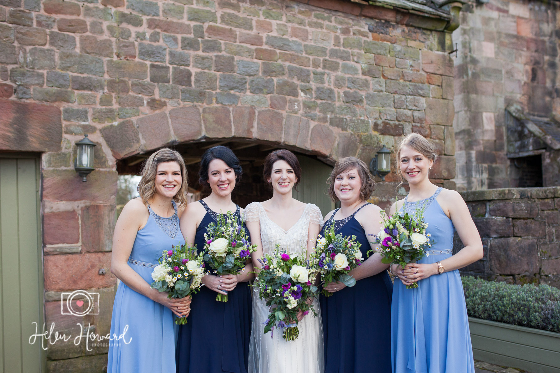 Bride and her bridesmaids outside the Ashes