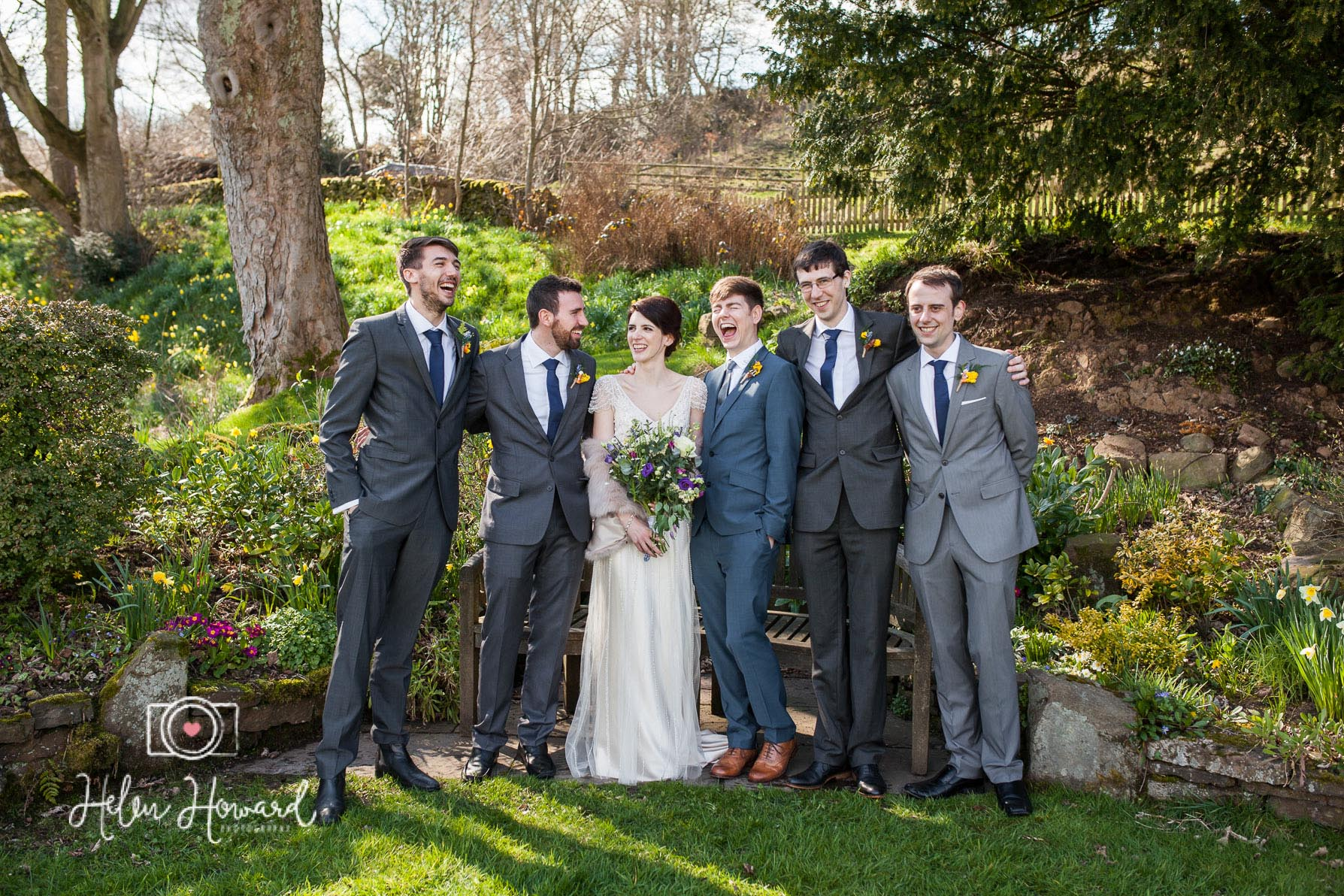 Bride Grom and their Groomsmen at a Staffordshire wedding