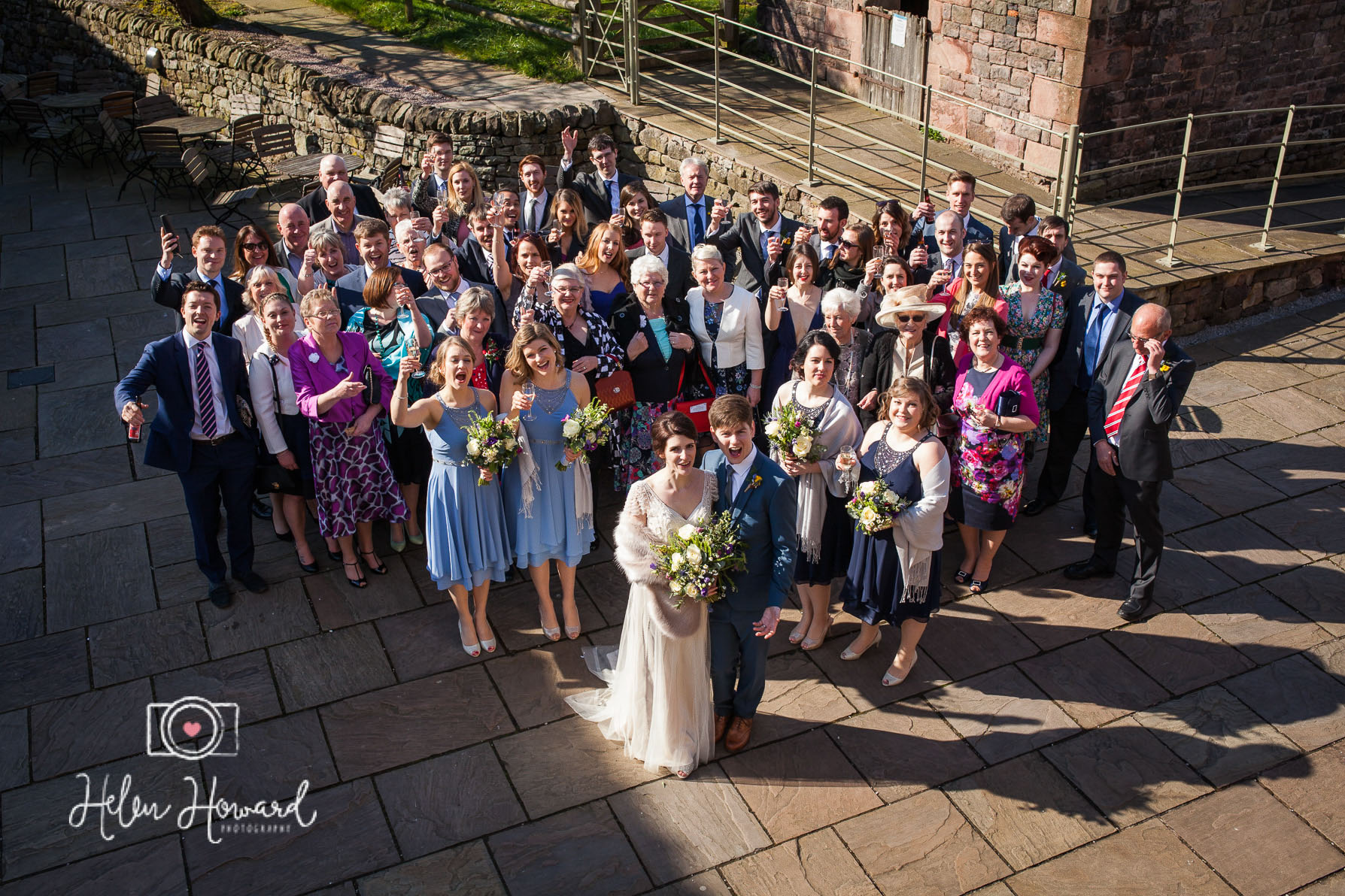 A large Group photo taken from above at The Ashes Wedding Venue in Staffordshire