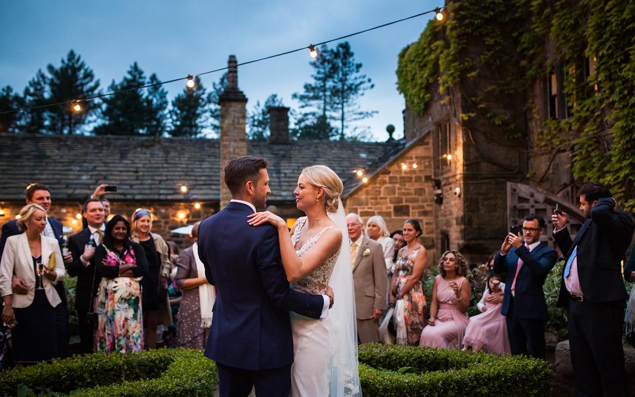 Courtyard summer wedding photographer