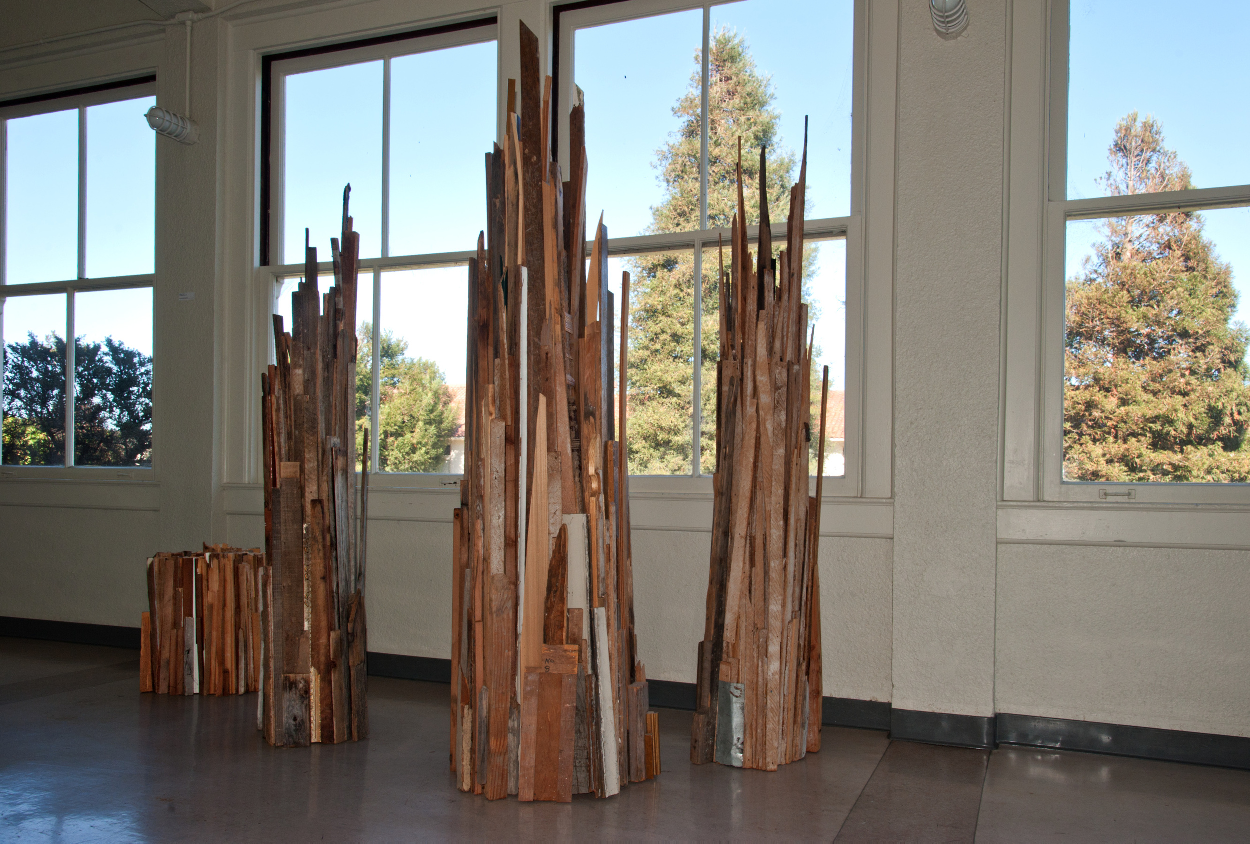 "Tree Metamorphous       found wood and metal,  h 2', 7', 8', & 9'  x  w 20"", 22"" 24"""