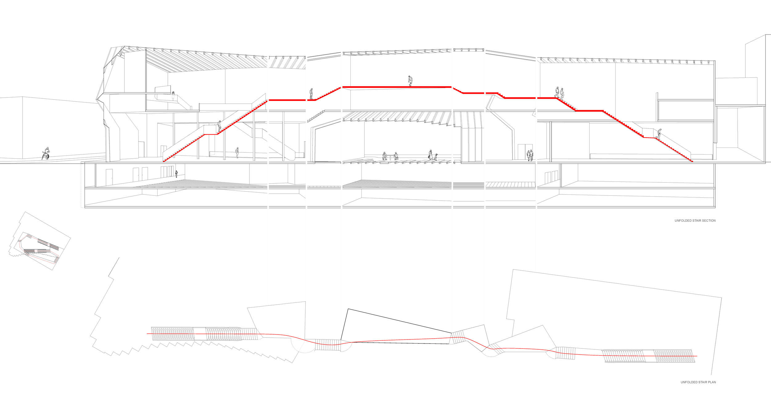 unfolded perspective section and plan
