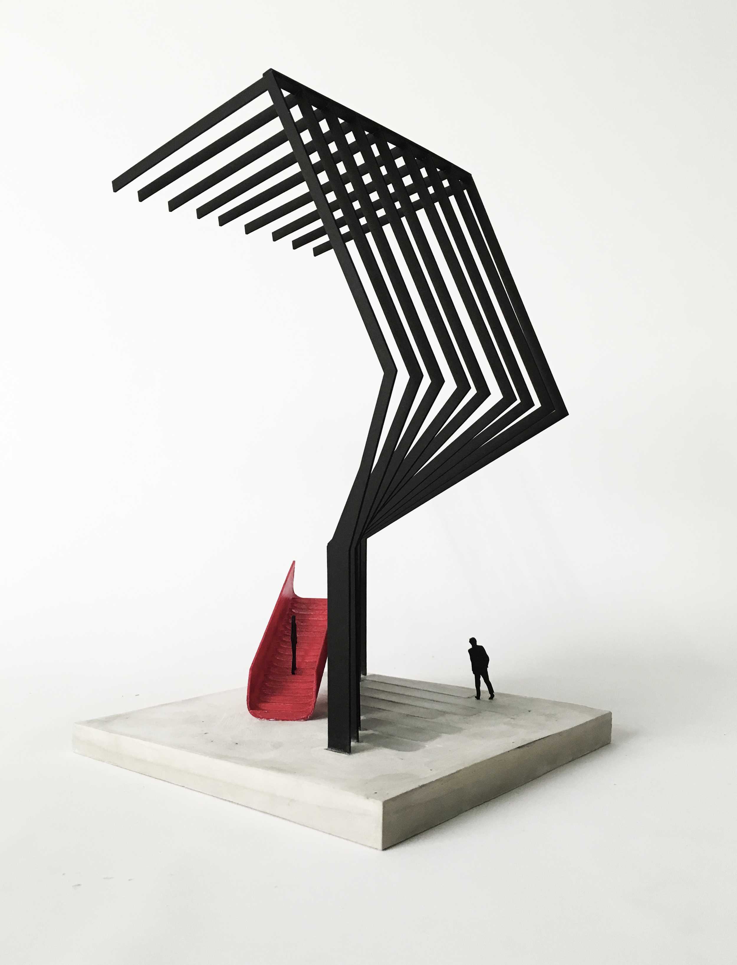 """1/4"""" = 1'    laser cut ribs, red coated 3D print stair,rockite base with acrylic strips"""