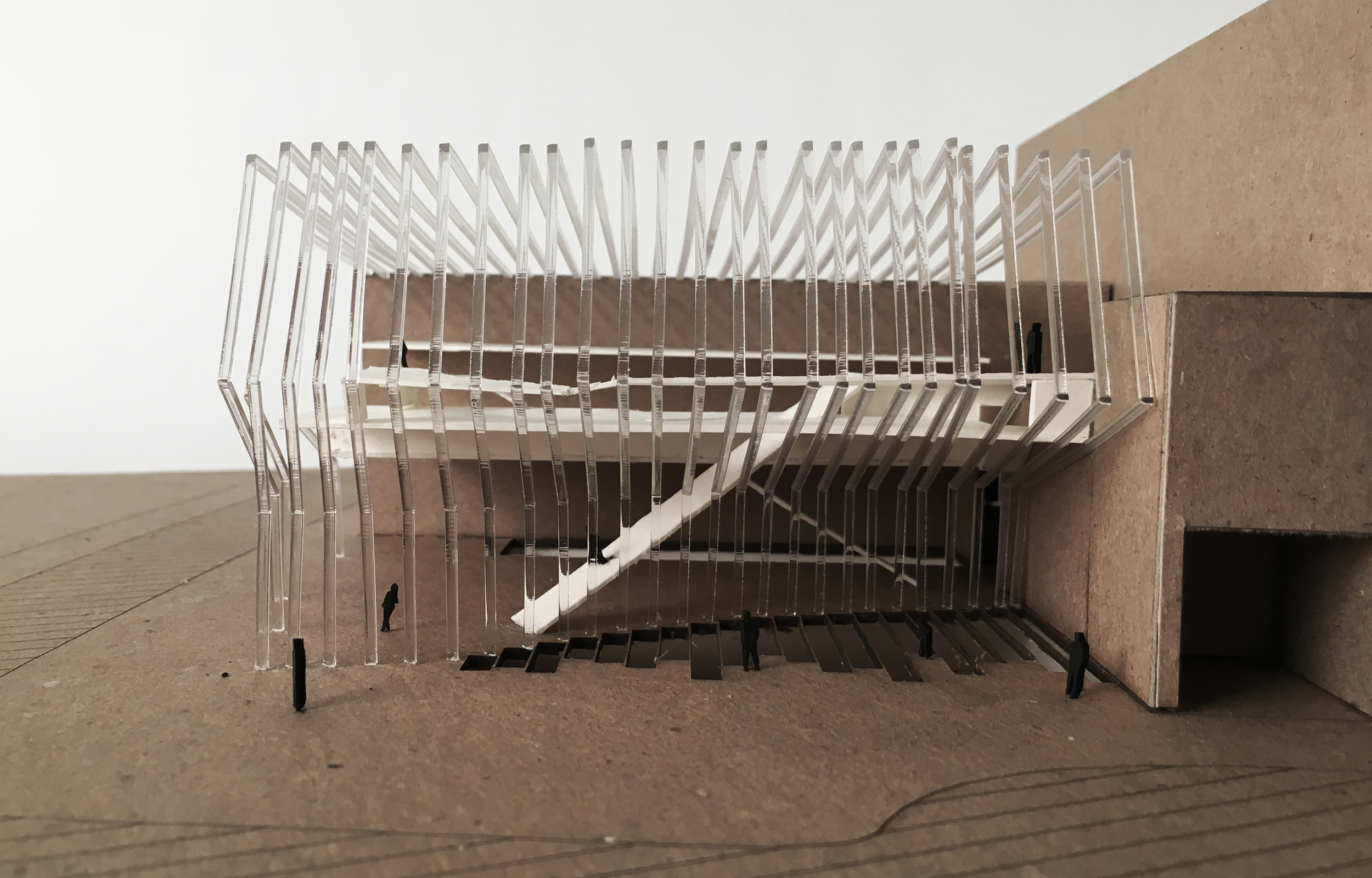 "1/16"" = 1'    laser cut acrylic ribs, chipboard base, white museum board interior"