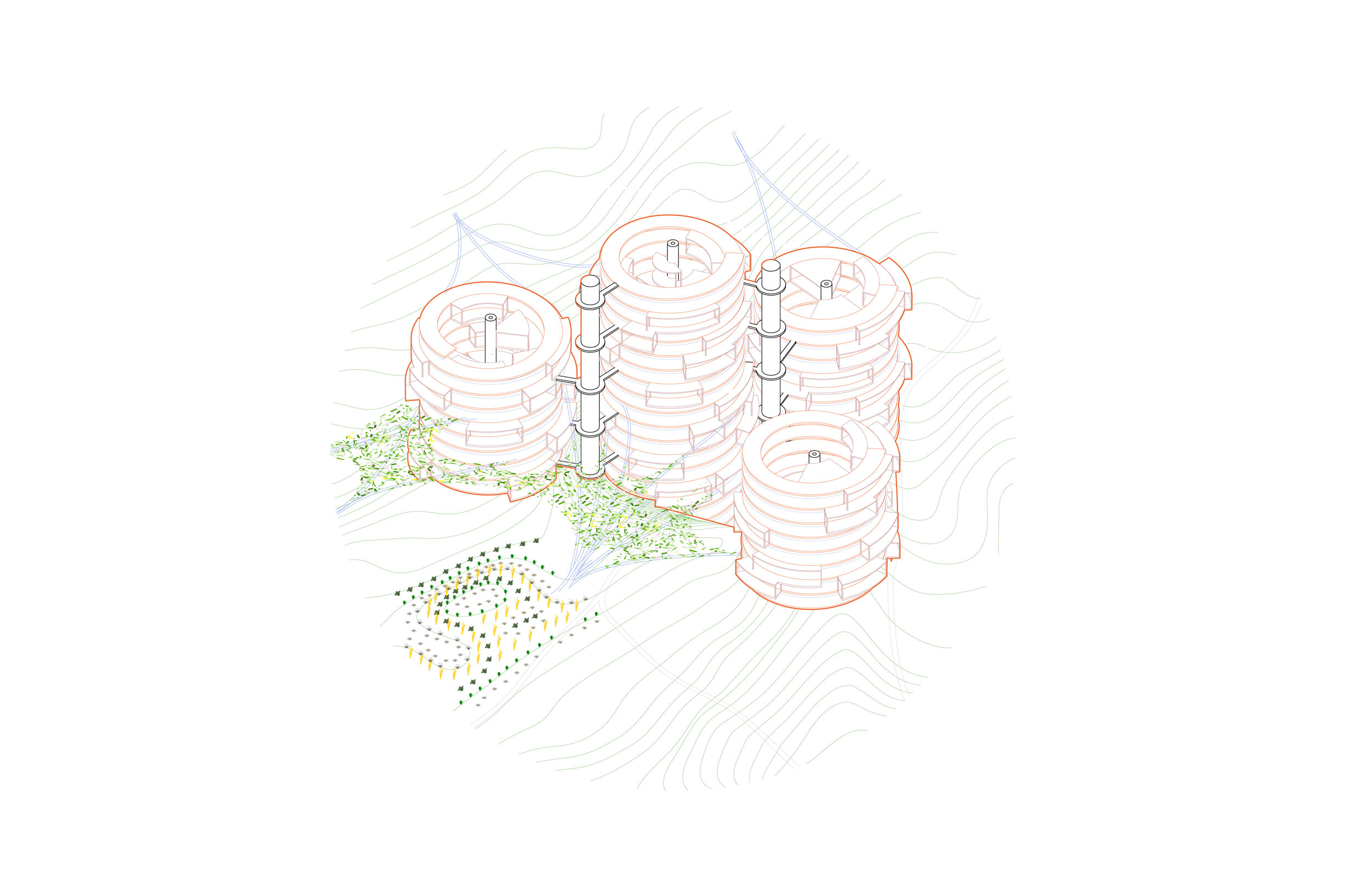 Network of coils connected by canopied farmscapes