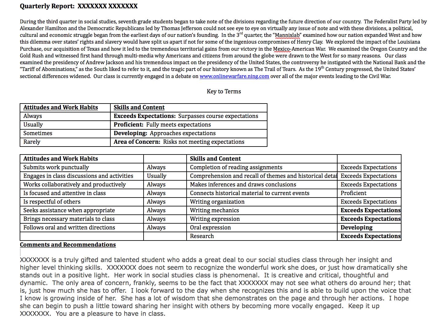 "Sample Student Report Card during my ""Assessment for Learning"" Pilot Program."
