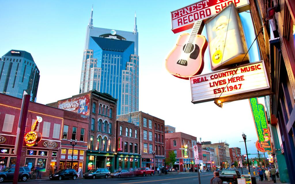 Pictured above: Broadway - the most famous strip in Nashville consisting of famous bars and country music landmarks in the heart of downtown Nashville.  Photo credit: Booking.com