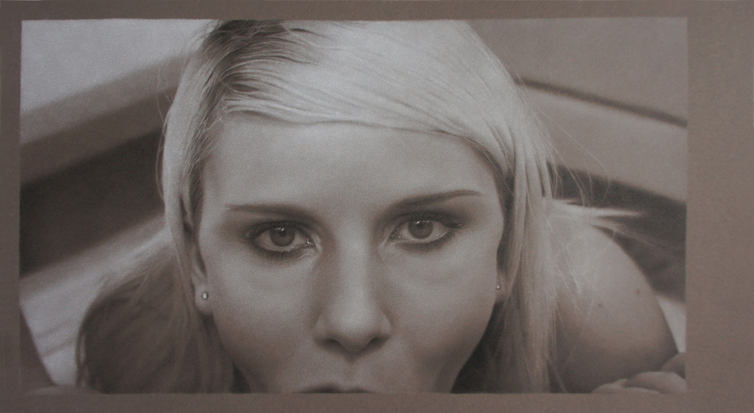 """Cynthia, colored pencil on toned paper, 2014, 9 1/2"""" x 17"""""""