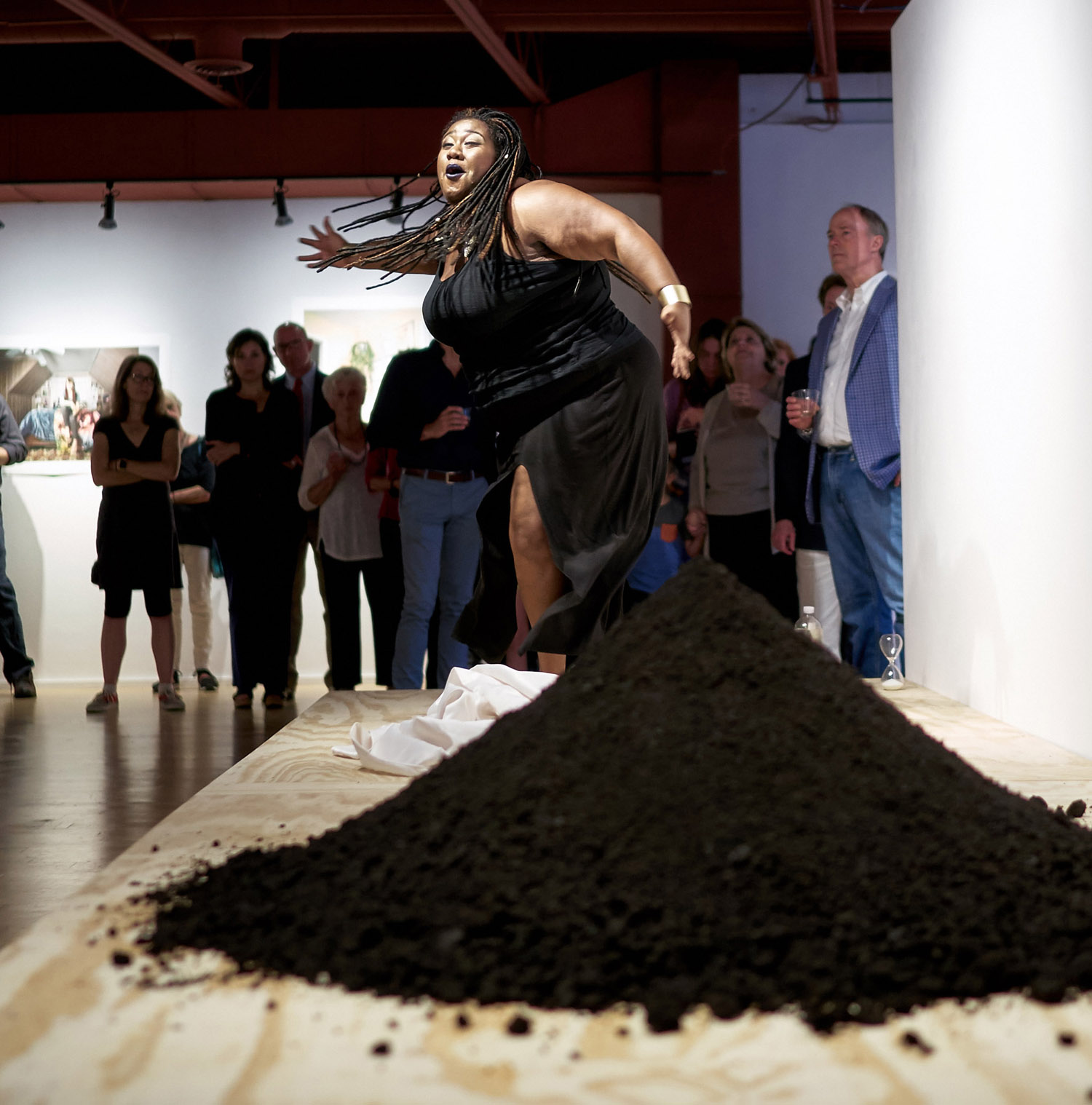 """Be"" performance by Tempestt Farr, choreographed by Heidi Bartlett for the UpSpeak show at Moberg Gallery"