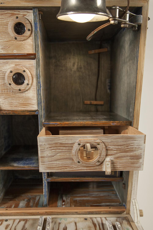 A Cataloger's Desk, 2014 (desk open, detail of interior)