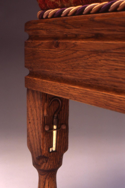 Pirate Stool, 2006 (detail of hidden key that unlocks the hidden compartment)