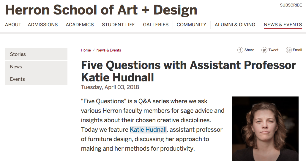 The amazing External Affairs staff at Herron School of Art and Design asked me if I would answer some questions for a new series they're doing profiling Herron faculty. Check out my answers  here . If you have time, you should also read  the first one about Lowell Isaac , one of our amazing teachers in Illustration - my colleagues are so cool! Heck, you should probably just keep an eye on  EVERYTHING  going on at Herron - it's a great place to work, and a great place to go to school!