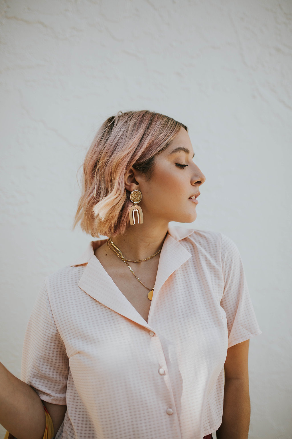 Earrings:  The Style Union  | Layered Spheres Choker:  Mejuri  | Virgin Mary Gold Necklace was a gift from my grandma, made in Italy.