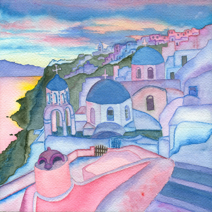 Santorini Sunset   - watercolor & watercolor pencils  Leah Cox ©2015