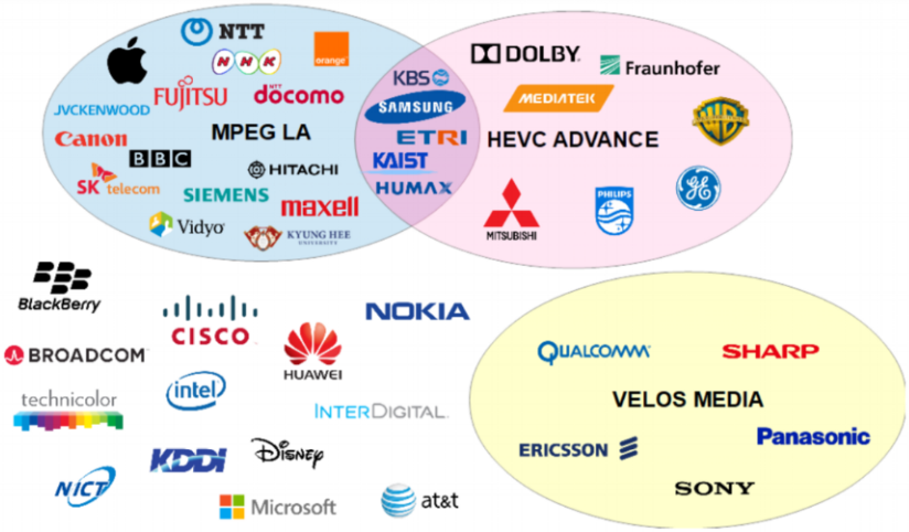 A subset of the organizations that have declared to hold HEVC essential patents.
