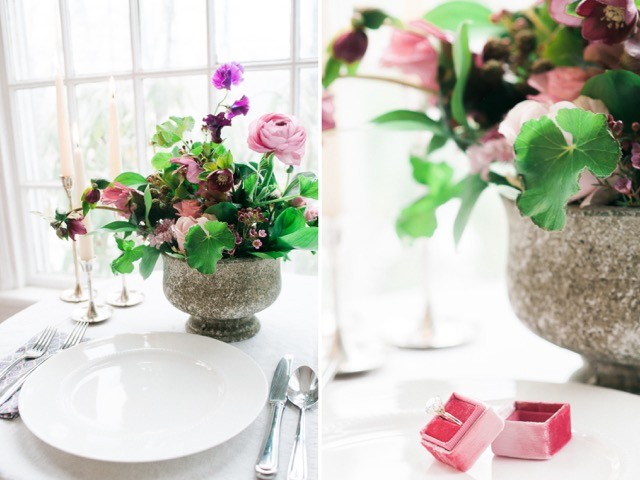 Plated proposal.  Styling and flowers by Poppies.  Photo courtesy of Meg Manion.