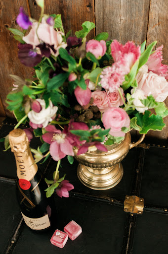 Bubbles and brass. Styling and flowers by Poppies.  Photo courtesy of Meg Manion.