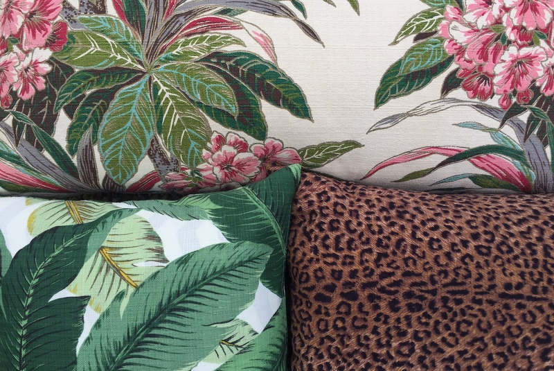 Palm and animal print fabrics are fun to mix and match.