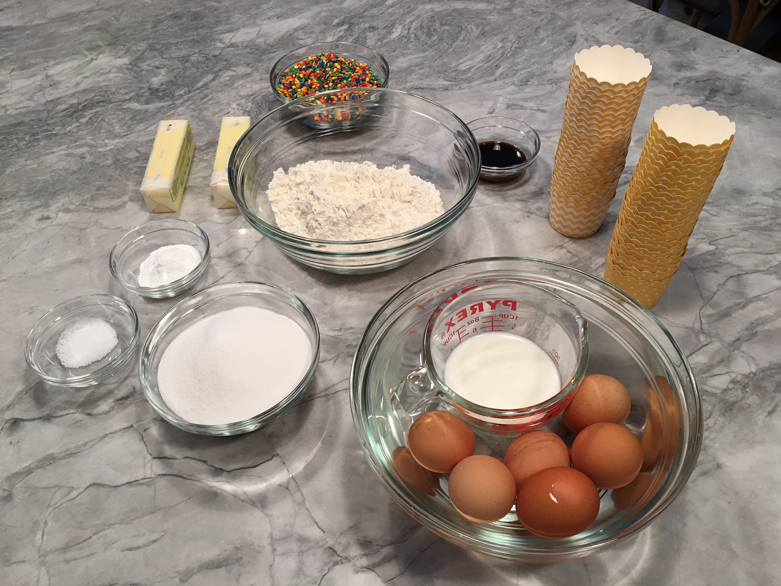 Confetti cupcake ingredients