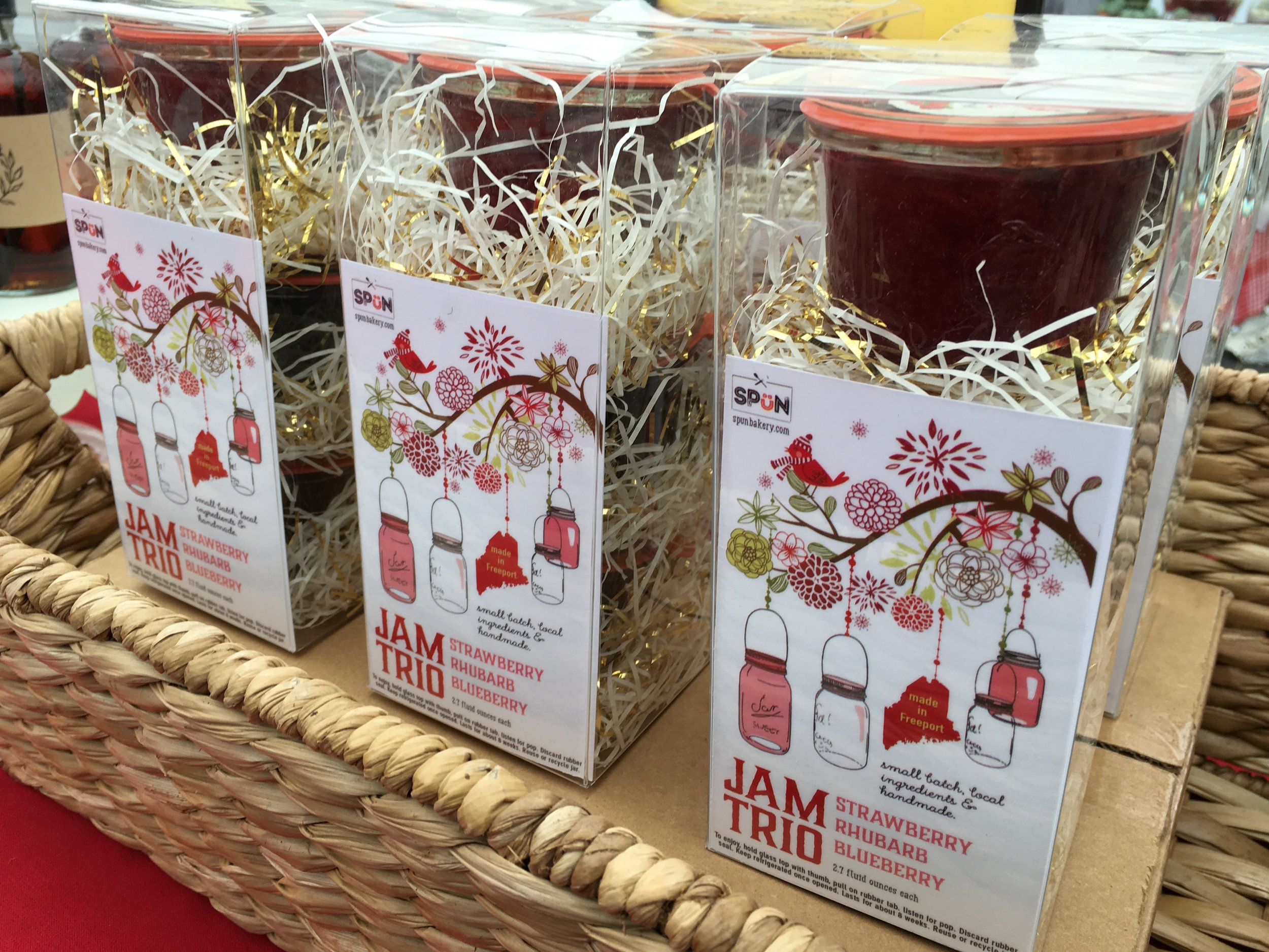 Our jam trio gift sets with handmade blueberry, strawberry and rhubarb jams.