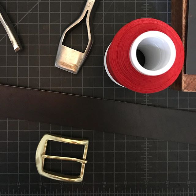 I spend so much time making beautiful leather articles for other people that sometimes I forget myself. New black belt in black English bridle leather with solid brass buckle.