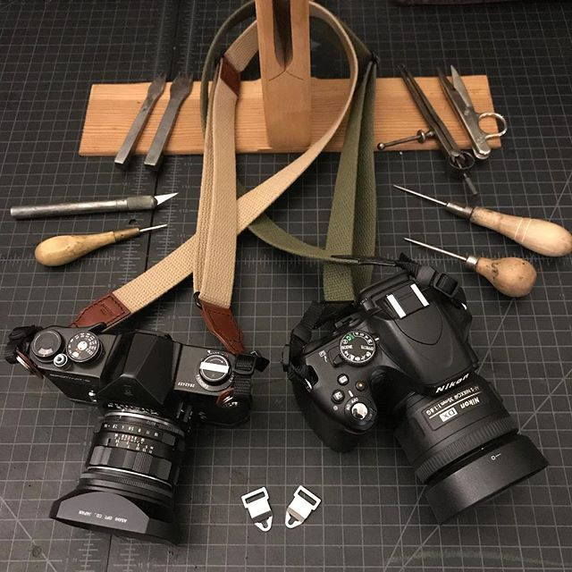 We're making some new camera straps. These ones are cotton webbing and leather. They're compatible with almost every camera including Hasselblad and other large format. We'll be releasing them on the website soon. Thanks for looking 😉 talbottandsons.com