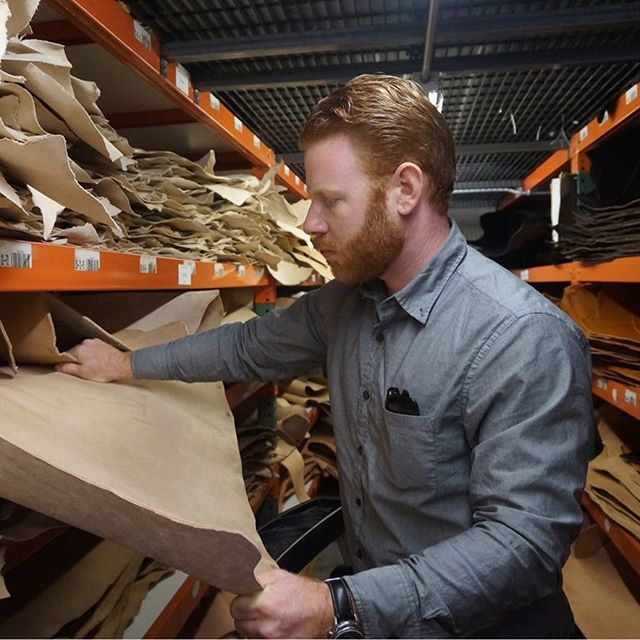 To ensure the superior quality of our products we hand-pick every leather hide. Here is Jonathan Talbott inspecting Wickett & Craig veg-tan leather at @hide_house in Napa, California