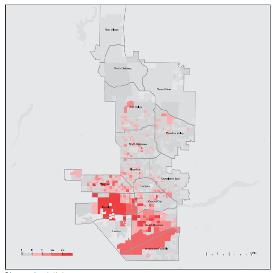 This is a map of incarceration rates in Phoenix