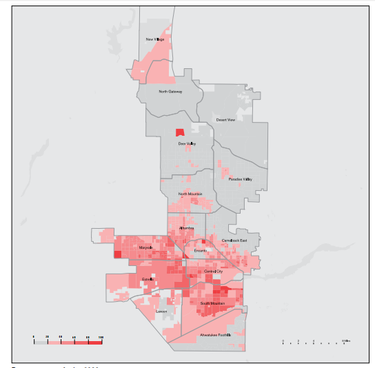 This is a map of racial demographics in Phoenix
