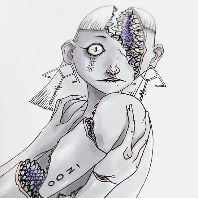 GRLZ/GEODE . #drawing by Oozi .. ... .... ..... #art #geode #jewelry #sketchbook #surrealism #ink #characterdesign ...... Debating releasing another weird girl art sketchbook...?