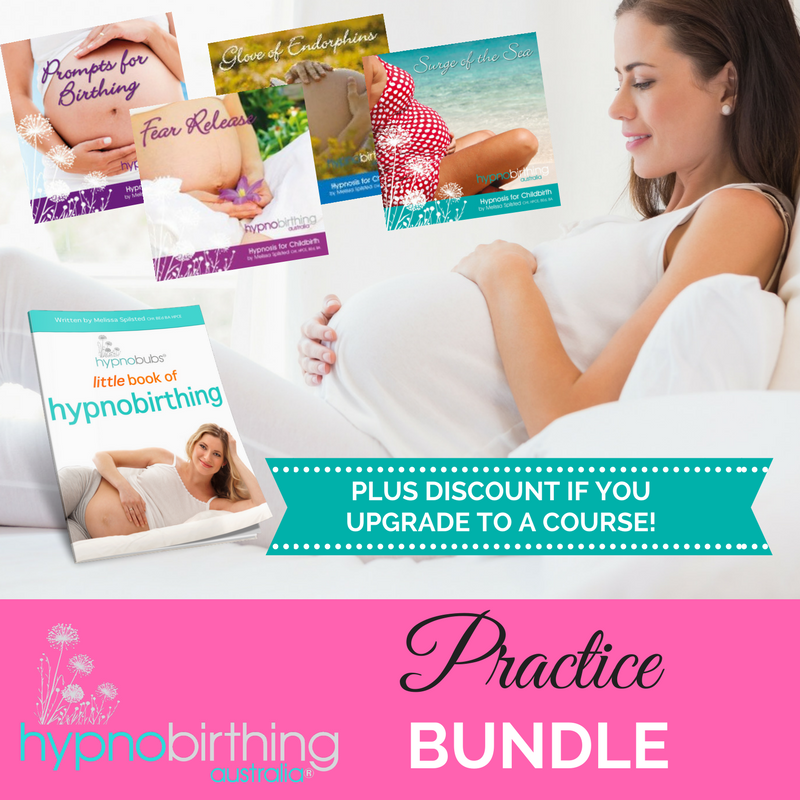 Hypnobirthing Australia Practice Bundle - You can't go wrong with this option!Our great value Hypnobirthing Practice Bundle includes mp3s, the little book of hypnobirthing eBook and a discount off face-to-face or online classes if you decide to upgrade!Inclusions:Affirmations for Beautiful Birthing MP3 (18:45)Surge of the Sea – Relaxation for Childbirth MP3 (20:32)Glove of Endorphins MP3 (23:12)Fear Release MP3 (24:57)Prompts for Birthing MP3 (20:10)PLUS our exclusive 'little book of hypnobirthing' eBook! (50 pages)BONUS – We know that you are going to love our program. If you decide to upgrade to face-to-face classes with a participating practitioner (group, private or Skype) within 4 months of purchasing this bundle – you receive a $30 discount off your class fee when you present your purchase receipt to you Adelaide Lactation Consultants & Midwifery or $59 discount off the hypnobubs online course if you choose to upgrade.*Discount available with participating practitioners only, Australia-wide.** Remember to download this package using a computer (not phone or tablet)