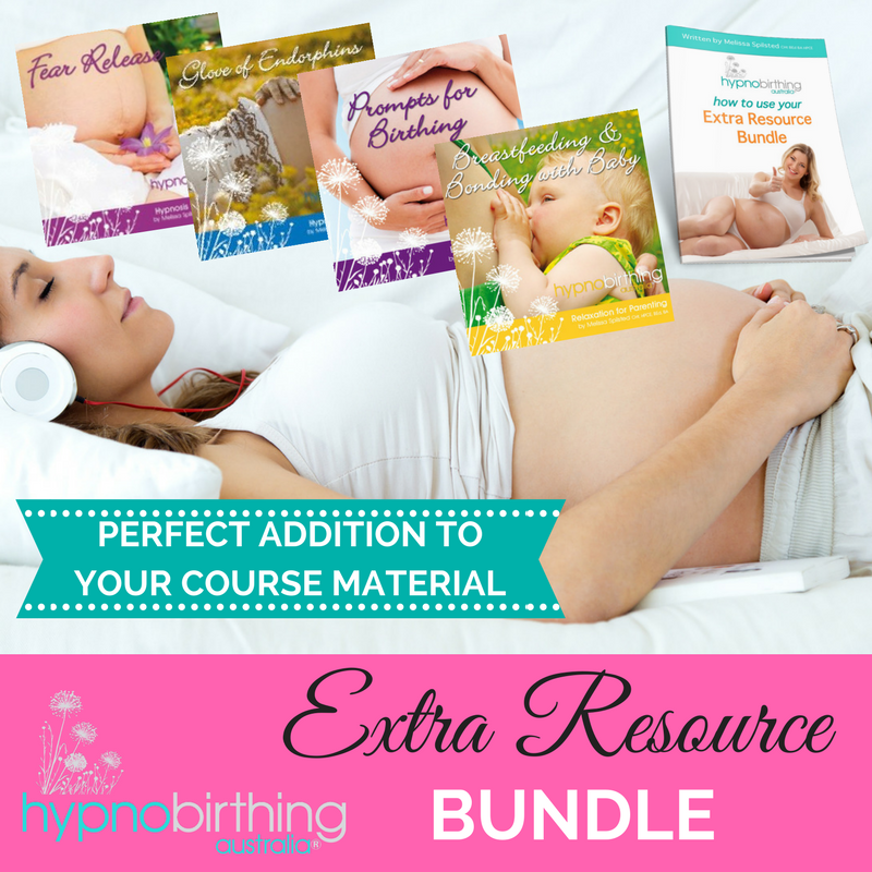 Hypnobirthing Australia Practice Bundle - This bundle has been especially designed to complement the resources that are already included in the Hypnobirthing Australia™ course and provides you with a discounted bundle of the most popular album titles requested by participants attending our courses. We have also included a BONUS instructional eBook with further information on how to use the albums to get the most out of your practice.The following mp3 albums are included in the 'Extra Resource Bundle':Prompts for Birthing (mp3)Glove of Endorphins (mp3)Fear Release (mp3)Breastfeeding and Bonding with Baby (mp3's)Extra Resource Bundle eBook