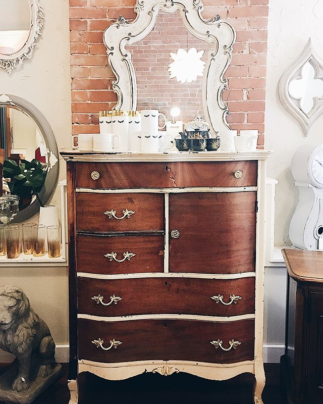 gorgeous, rustic, weathered two-tone chest with gilded french hardware- now available!  #bohemestl #bohodecor #eclecticdecor #eclectichome #bohoglam #shoplocalstl #shopsmallstl #stlboutique #cherokeeantiquerow #cherokeestreet #frenchdecor #bohointeriors #frenchinteriors #paintedfurniture #whiteandwood #rococostyle #curatedlife #curateddesign #stlouisboutique