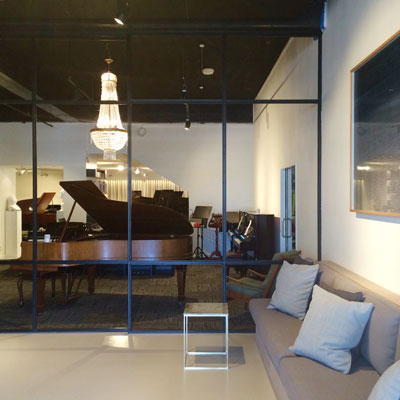 View from cafe into the piano lounge