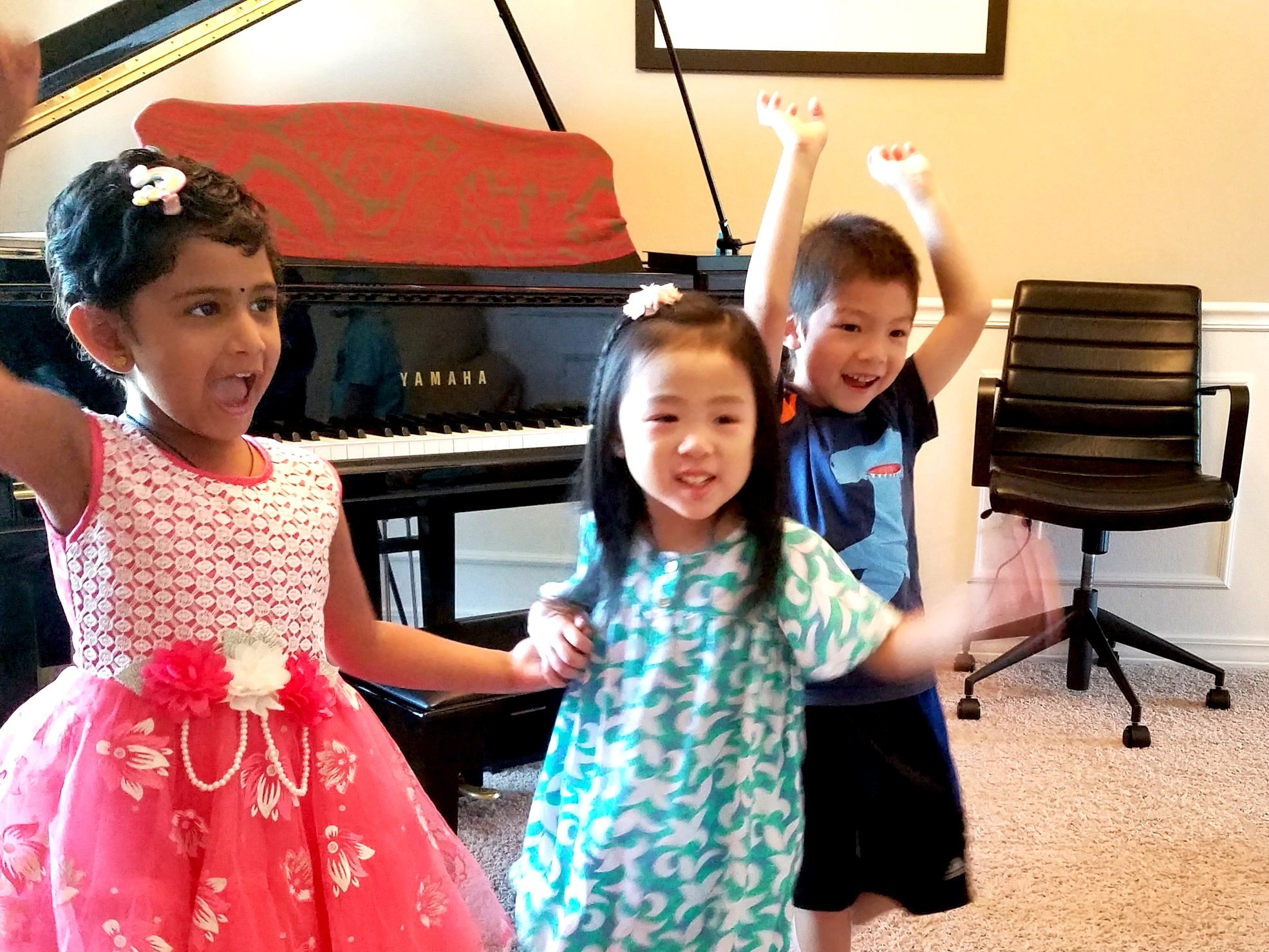 Music & Movement - Join us for fun private and group lessons! Engaging music activities with singing, movement, rhythmic games, performance party and musical story time. Periodical group lessons allow students to broaden their musical experiences. Our little pianists enjoy learning and experiencing teamwork in a friendly and encouraging atmosphere.